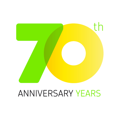 70 years old round logo. Anniversary year of 70 th vector banner numbers. Birthday greetings circle celebrates. Celebrating digits. Colored figures of ages