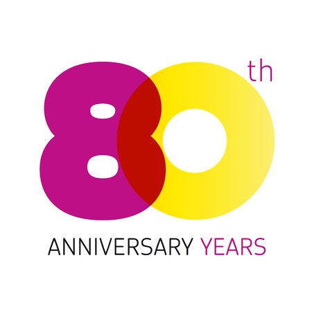 80 years old round logo. Anniversary year of 80 th vector banner numbers. Birthday greetings circle celebrates. Celebrating digits. Colored figures of ages