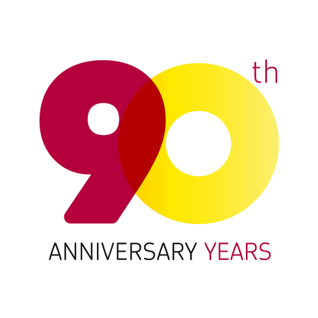 transparence: 90 years old celebrating classic logo. Anniversary year of 90 th vector numbers. Birthday greetings celebrates with transparency. Traditional digits of jubilee ages. Colored letter O. Illustration