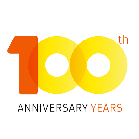 100 years old celebrating classic logo. Anniversary year of 100 th vector numbers. Birthday greetings celebrates with transparency. Traditional digits of jubilee ages. Colored letter O. Illustration