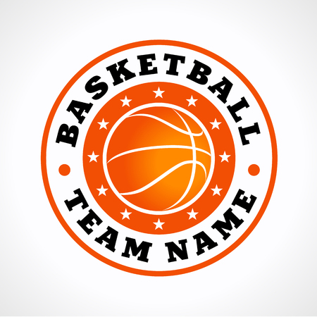 Basketball sports vector logo. Branding symbol of teams, national competitions, union, matches, leagues or sport equipment shop. Childrens schools, kids sport clubs or juniors tour icon. Illustration