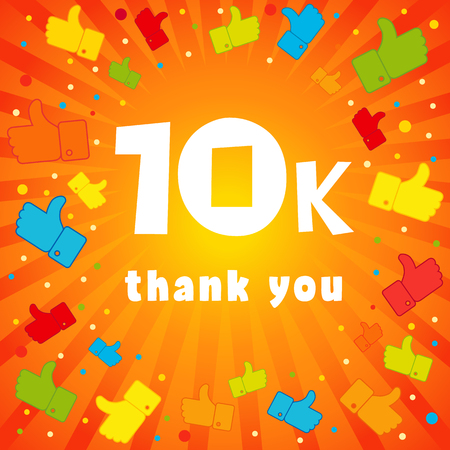 10,000 followers vector illustration with thank you on pattern of colored likes. 10k thank you banner Illustration