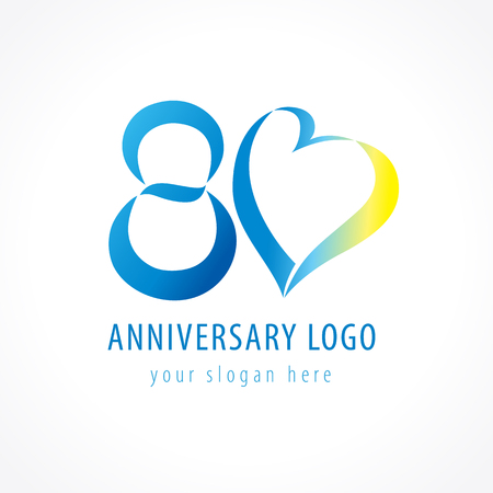 Anniversary 80 years old hearts celebrating vector digit logo. Birthday greetings with framed tape heart shape. Holiday abstract numbers or letter o. Lovely card with celebrating figures 80 th.