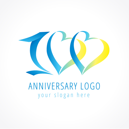 Anniversary 100 Years Old Hearts Celebrating Vector Digit Logo