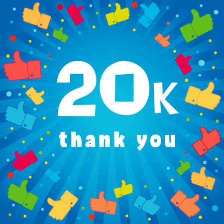 20k thank you banner. 20000 followers vector illustration with thank you on pattern of colored likes Иллюстрация