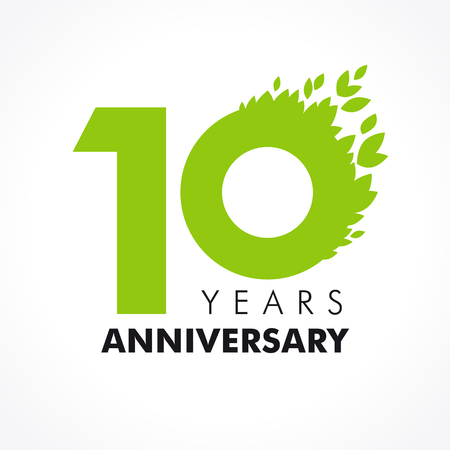 10 years old celebrating green flying leaves logo. Anniversary year of 10 th vector template. Birthday greetings celebrates. Environmental protection, natural products jubilee ages. Healthcare icon.