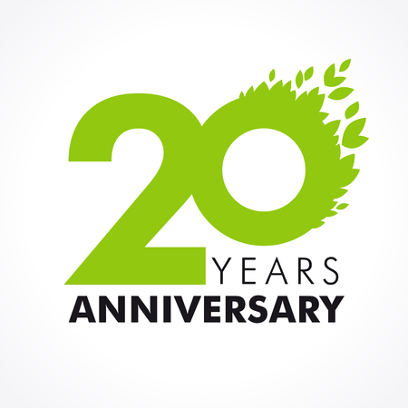 20 years old celebrating green flying leaves logo. Anniversary year of 20th vector template. Vettoriali
