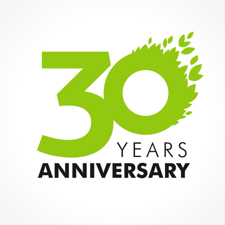 30 years old celebrating green flying leaves logo. Anniversary year of 30 th vector template. Birthday greetings celebrates. Environmental protection, natural products jubilee ages. Health care icon.