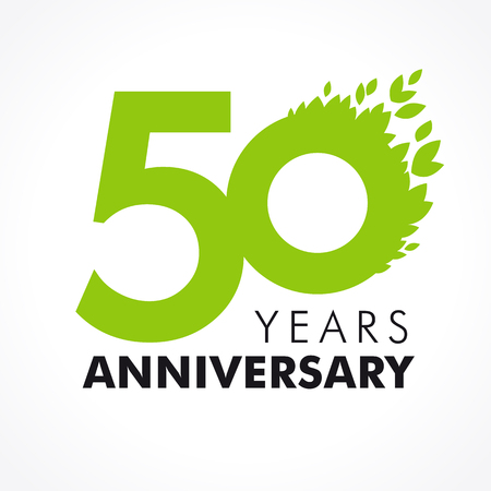 alphabet tree: 50 years old celebrating green flying leaves logo. Anniversary year of 50th vector template.