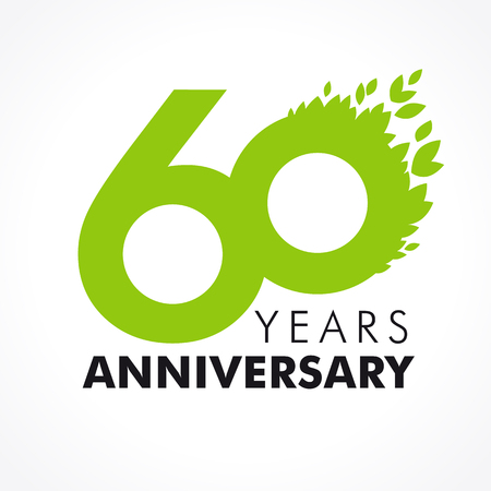 alphabet tree: 60 years old celebrating green flying leaves logo. Anniversary year of 60th vector template.