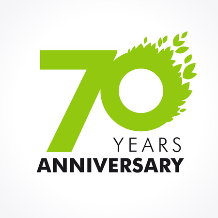 70 years old celebrating green flying leaves logo. Anniversary year of 70th vector template. Illustration