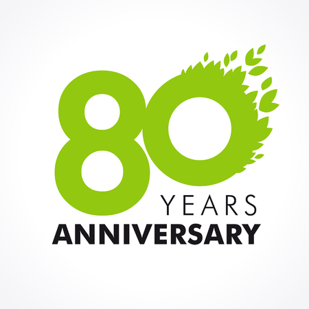 80th: 80 years old celebrating green flying leaves logo. Anniversary year of 80th vector template. Illustration