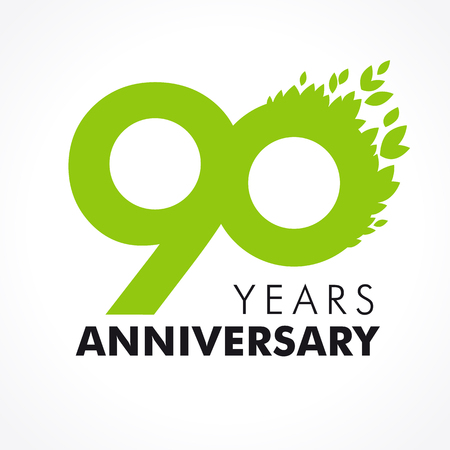 90th: 90 years old celebrating green flying leaves logo. Anniversary year of 90th vector template.