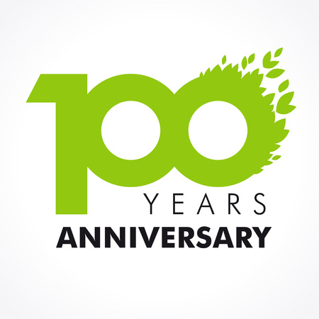 100 years celebrating green flying leaves logo. Anniversary year of 100th vector template.