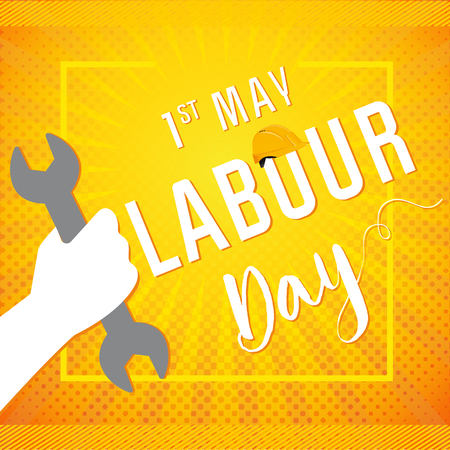 1 may - labour day banner. Happy labour day vector poster or banner with with wrenches fist. International Workers day illustration for greeting card design