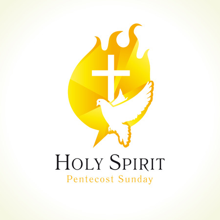 Holy Spirit Pentecost Sunday vector greetings. Fiery flaming shining glowing sign gold colored, white flying dove in sky.