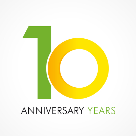 10 years old celebrating classic logo. Anniversary year of 10 th vector template. Birthday greetings celebrates. Traditional digits of jubilee ages in a shape of rings.