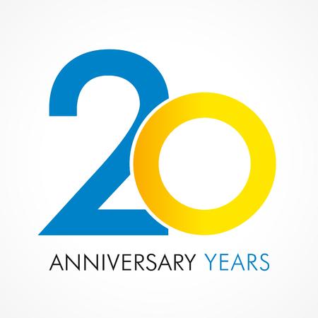 20 años celebrando el logotipo clásico. Año de aniversario de la 20ª plantilla de vector. Saludos de cumpleaños celebra. Los dígitos tradicionales del jubileo envejecen en forma de anillos. Logos