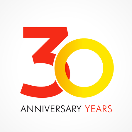 30 years old celebrating classic logo. Anniversary year of 30 th vector template. Birthday greetings celebrates. Traditional digits of jubilee ages in a shape of rings.