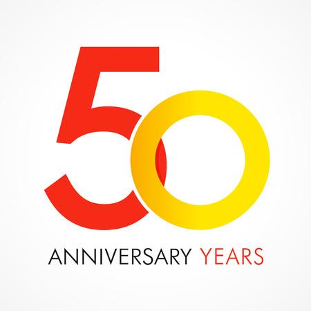 50 jaar oud die klassiek logo viert. Jubileumjaar van 50e vectorsjabloon. Verjaardagsgroeten vieren. Traditionele cijfers van jubileumleeftijden in een vorm van ringen.