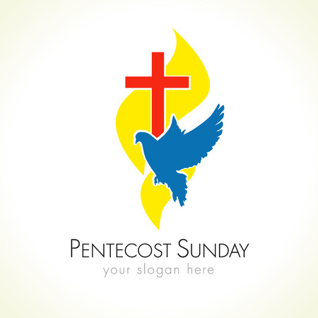 Holy Spirit Pentecost Sunday vector greetings. Fiery yellow or gold colored flames, blue flying dove, red crucifix. Christian religious invite flyer. Trinity holiday celebrating and peace flaming symbol.