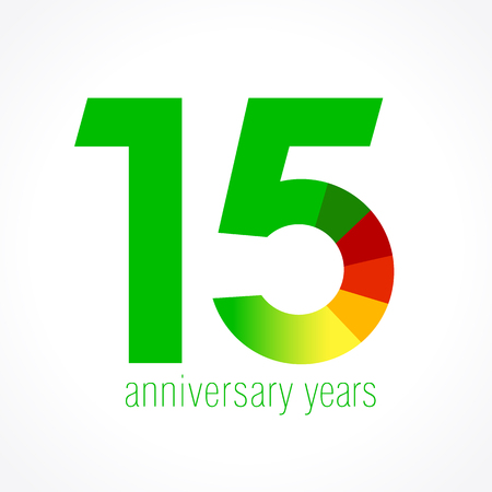 fifteen year old: 15 years old logo with pie chart. Anniversary year of 15 th vector round banner numbers. Birthday greetings circle celebrates. Celebrating digits. Colored figures of ages.