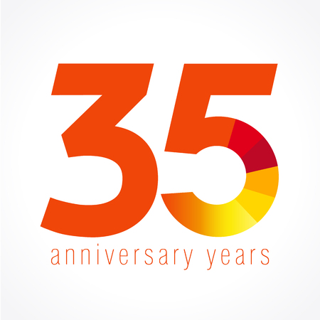 35 years old logo with pie chart. Anniversary year of 35 th vector round banner numbers.