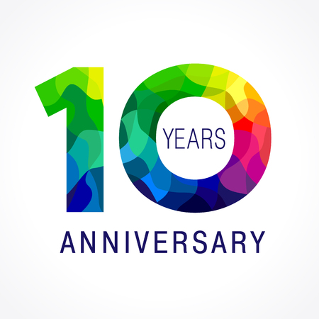 10 years old celebrating colored logo. Anniversary year of 10 th vector template numbers. Happy birthday greetings celebrates. Stained-glass digits of jubilee ages. Mosaic pattern figures in various colors.