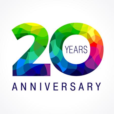 20 años de edad celebrando logotipo de color. Aniversario del año 20 de número de plantilla de vectores. Cumpleaños de feliz cumpleaños celebra. Dígitos de vitrales de las edades del jubileo. Mosaico patrón de figuras en varios colores.