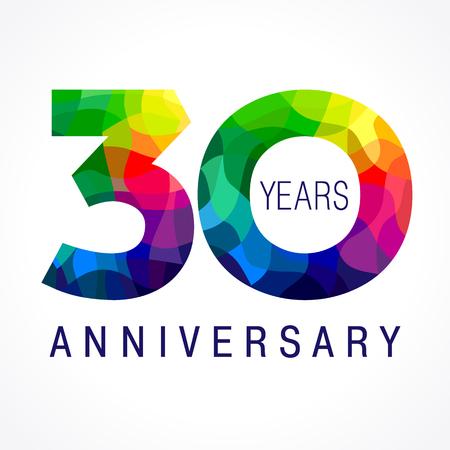 30 años celebrando el logotipo de color. Año de aniversario de 30 números de plantilla de vector. Feliz cumpleaños saludos celebra. Los dígitos del vitral de las edades del jubileo. Figuras de mosaico en varios colores. Foto de archivo - 76490447