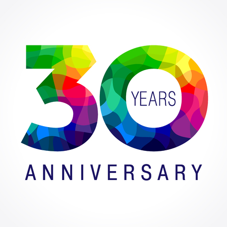 30 years old celebrating colored logo. Anniversary year of 30 th vector template numbers. Happy birthday greetings celebrates. Stained-glass digits of jubilee ages. Mosaic pattern figures in various colors. 向量圖像