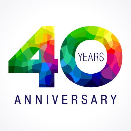 40 years old celebrating colored logo. Anniversary year of 40th vector template numbers. Happy birthday greetings celebrates. Stained-glass digits of jubilee ages. Mosaic pattern figures in various colors.