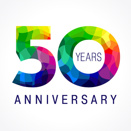 50 years old celebrating colored logo. Anniversary year of 50 th vector template numbers. Happy birthday greetings celebrates. Stained-glass digits of jubilee ages. Mosaic pattern figures in various colors.