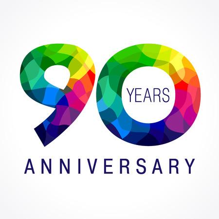 90 周年ロゴの色します。  イラスト・ベクター素材