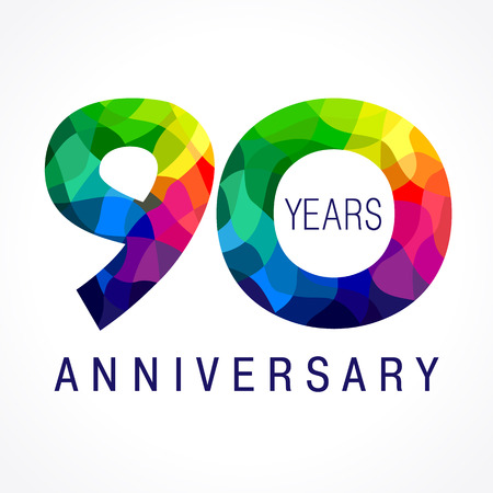 90 years anniversary colored logo. Иллюстрация