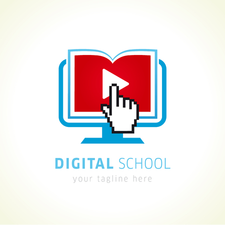 Digital school online logo. Open book with pages in monitor, click hand pixel sign and video player icon. E-book or e-reader soft icon. On-line educational blue vector logo