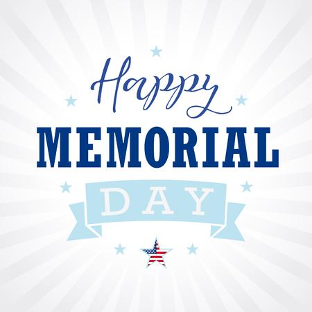 Estrella feliz de los EEUU del texto del Memorial Day, cinta y bandera de las rayas. Happy Memorial Day mano letras vector de tarjeta