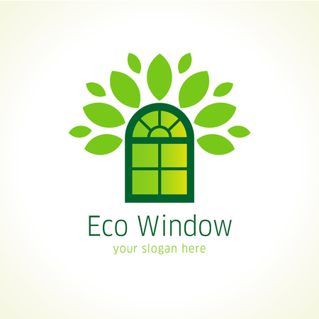 Windows eco vector logo. Template icon of constructing architectural or environmental company in a shape of green arch window, crown of leaves. Sign to buy windows or doors from natural materials.