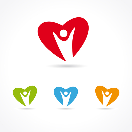 Heart Care colorful symbol set. Healthcare & Medical symbol with people heart colored shape. Human heart illustration template Illustration
