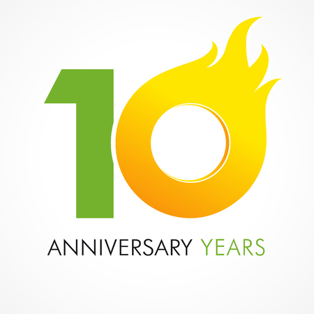 10 years old celebrating fiery logo. Anniversary year of 10 th vector. Happy birthday flaming greetings celebrates. Hot digits of jubilee.