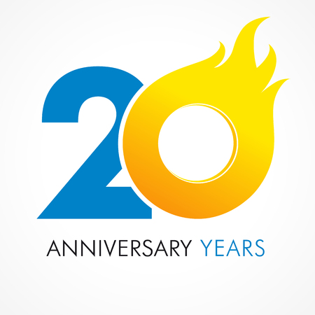 fervent: 20 years old celebrating fiery logo. Anniversary year of 20 th vector template flamy 0 numbers. Happy birthday flaming greetings celebrates. Hot digits of jubilee gold colored ages with flames. Illustration