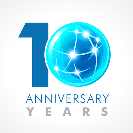10 years old celebrating connecting logo. Ilustração