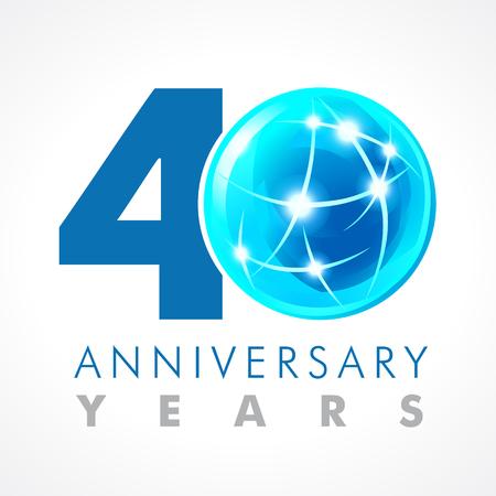 40 歳接続ロゴを祝います。コスモス ボリューム 0 ベクトル テンプレート 40 th の記念の年。ご挨拶年齢を迎えます。照明の点滅と火花と記号を通信