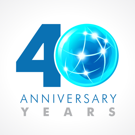 40 years old celebrating connecting logo. Anniversary year of 40 th vector template with volume cosmos 0. Greetings ages celebrates. Technologies, communicating sign with lighting flashes and sparks.