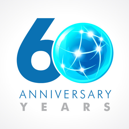60 years old celebrating connecting logo. Anniversary year of 60 th vector template with volume cosmos 0. Greetings ages celebrates. Technologies, communicating sign with lighting flashes and sparks.