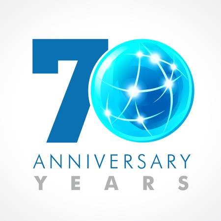 70 years old celebrating connecting logo. Anniversary year of the 70 th vector template with volume cosmos 0. Greetings ages celebrates. Technologies, communicating sign with lighting flashes and sparks.