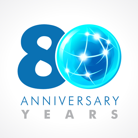 80th: 80 years old celebrating connecting logo. Anniversary year of 80th vector template with volume cosmos 0. Greetings ages celebrates. Technologies, communicating sign with lighting flashes and sparks.