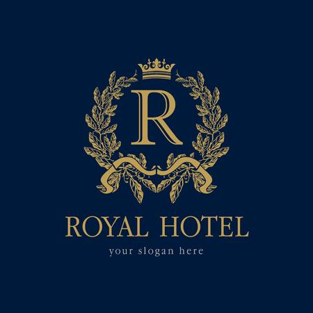 R logo de l'entreprise. Hôtel luxueux. Armoiries, motif de symboles classiques de la ronde ronde dorée. Logo