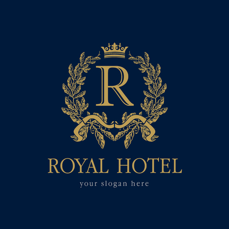 R company logo. Luxurious hotel. Coat of arms, gold colored round royalty classic symbol template.