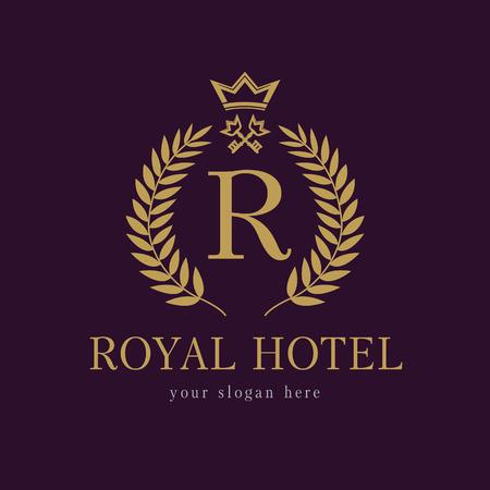 R logo de l'entreprise. Hôtel luxueux. Armoiries, motif de symboles classiques de la ronde ronde dorée.